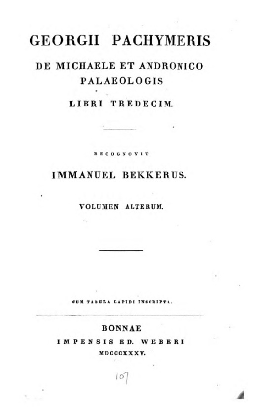 Georgius Pachymeres, De Michaele et Andronico Palaeologis