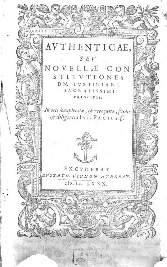 Iustinian, Novellae Constitutiones (1580)