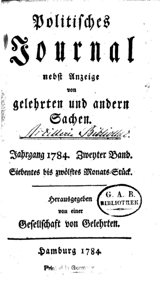 Politisches journal nebst Anzeige von gelehrten und andern Sachen (1784)