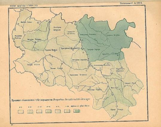 Harta Serbiei în 1884. Proporția minorităților etnice