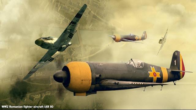 IAR 80 în luptă cu avioane de vânătoare americane Mustang, deasupra României (1944)
