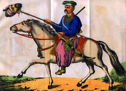Luptator cazac cu capul unui turc