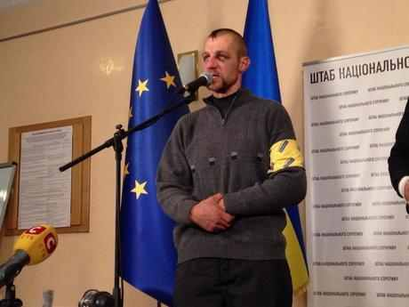 Mykhailo Gavryliuk la conferinta de presa din Casa Sindicatelor din Kiev Foto:.kyivpost.com