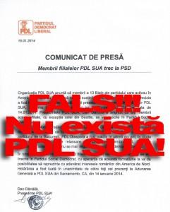 Facsimil - Comunicat PSD prin care pretinsa organizatie PDL - SUA (inexistenta) trece la PSD