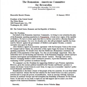 The Romanian - American Committee for Bessarabia to Honorable Barack Obama