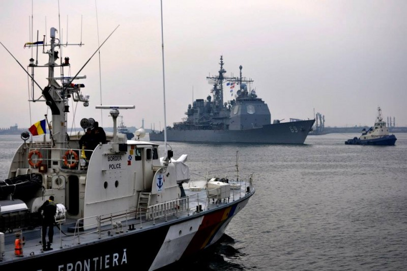 The Standing NATO Maritime Group Two arrives in Constanta, Romania, March 13, 2015. NATO and Romanian officials welcomed the SNMG2 during its port visit, which is a part of a regularly scheduled deployment designed to provide security and stability assurance measures to Allied nations in the region. (U.S. Air Force photo / 1st Lt. Kay M. Nissen)