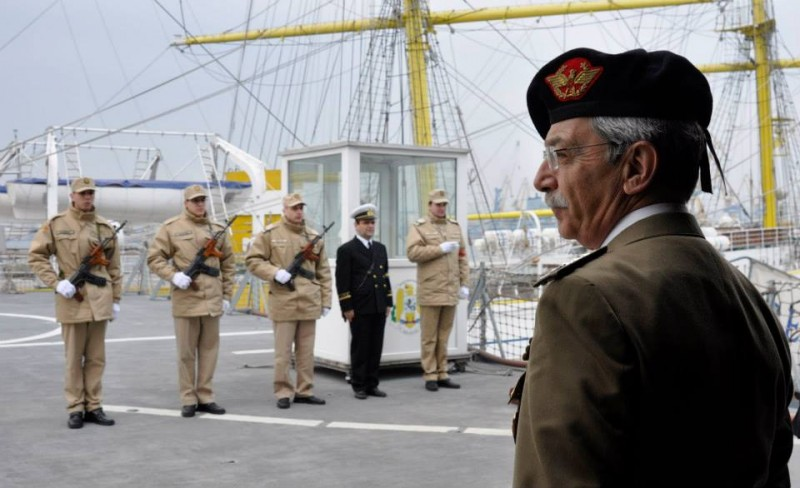 Allied Joint Force Command Naples Chief of Staff, Italian Army Lieutenant General Leonardo di Marco overlooks the harbor while aboard the Romanian Frigate Type 22 REGELE FERDINAND in Constanta, Romania, March 13, 2015. (U.S. Air Force photo / 1st Lt. Kay M. Nissen)