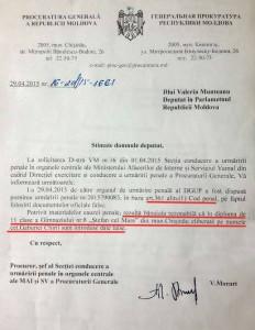 Procuratura Generală într-un răspuns semnat de procurorul Viorel Morari