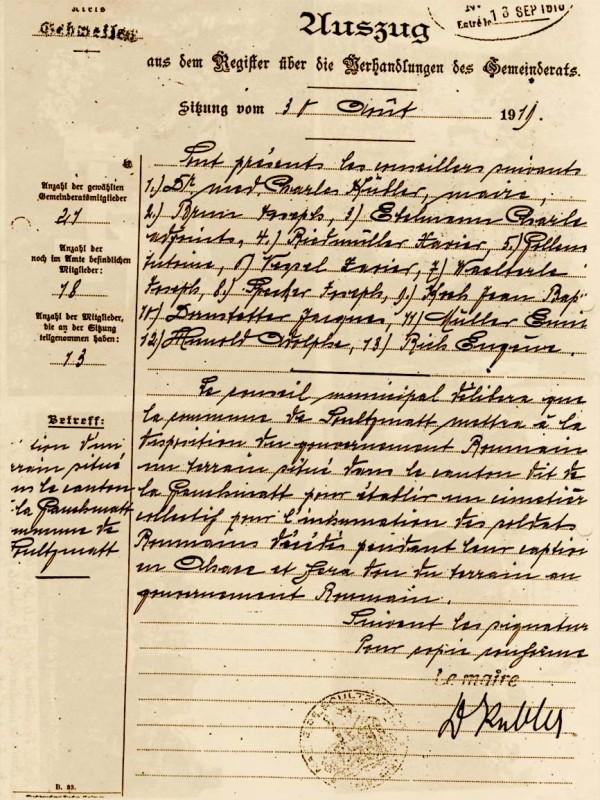 Actul de donație orașului Soultzmatt către Guvernul Român