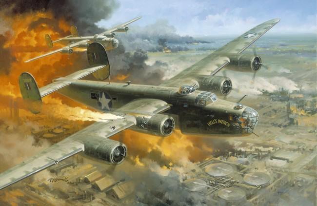 Bombardier america B24 peste răfinăriile din Ploesti, Romania, 1 August 1943 (grafică)