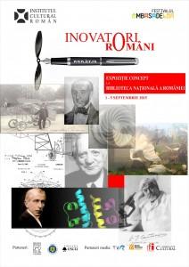 """Afișul expoziției """"Mari inovatori Români"""""""
