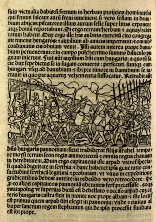 """Pagina despre Bătălia de la Baia, a cărții """"Chronica Hungarorum"""", de Johannes Thuroczy, publicată la Augsburg, în anul 1488"""