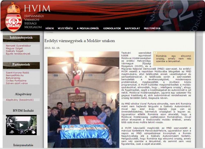 """""""Moldoveniștii"""" onorați cum și lăudați pe site-ul organizației iredentiste HVIM"""