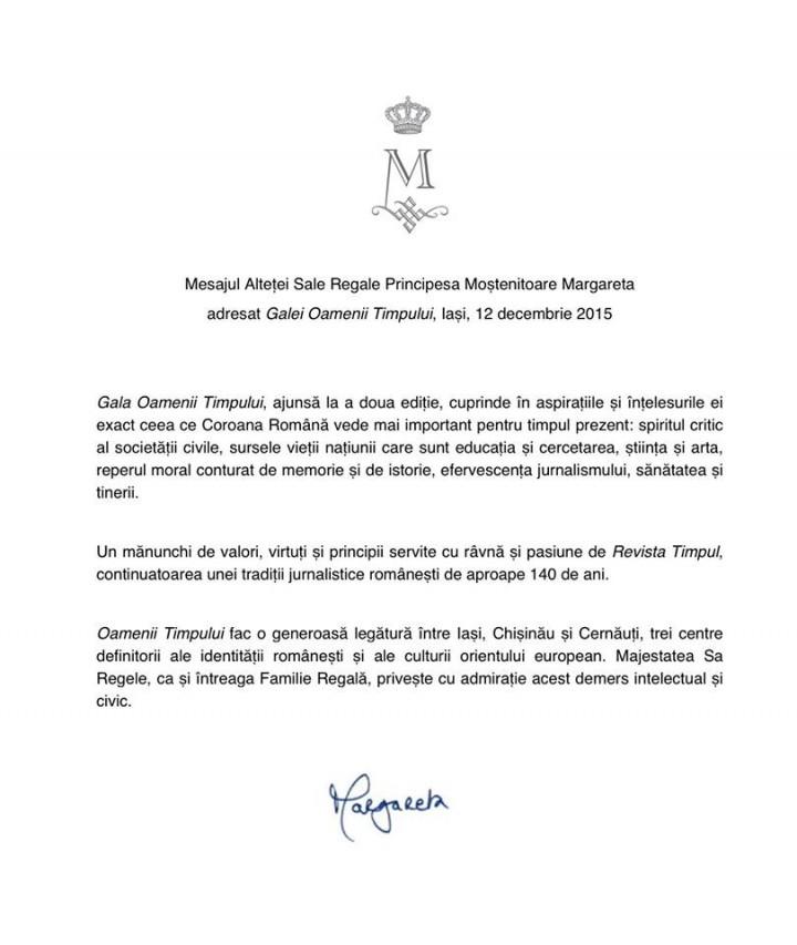 Mesaj ASR Principesa Margareta