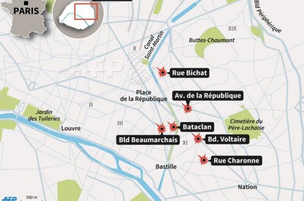 Locurile Atentatelor din Paris