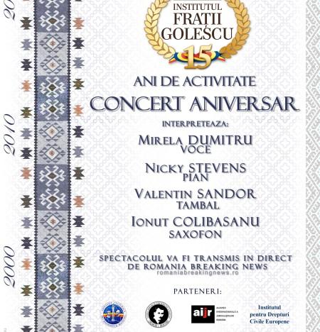 """Live! CONCERT ANIVERSAR – 15 ani de activitate """"pentru o Românie liberă, oricând, oricum, cu oricine, contra oricui"""" – Institutul Frații Golescu pentru românii din străinătate"""
