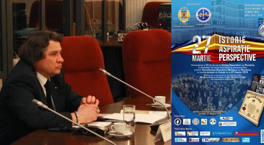 """""""Lașitate, incompetență sau trădare?"""" – Reflexii asupra aniversării celor 98 de ani de la Unirea Basarabiei cu România la Parlamentul României (dr. Robert Stănciugel)"""