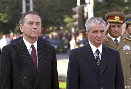 Nicolae Ceausescu - Károly Grósz la Arad în 1989