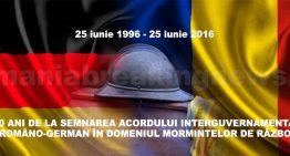 20 ani de la semnarea acordului româno-german pentru mormintele de război. Aproximativ 1800 de militari români odihnesc pe teritoriul Germaniei