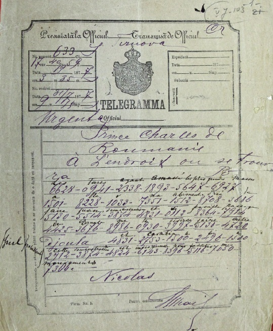 telegrama 19 iulie 1877