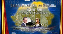 Concert Aniversar – 98 de ani de la Unirea Bucovinei cu România la Clubul Țăranului