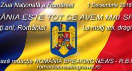Tuturor românilor, inima și fruntea sus Avem de ce! La Mulți Ani Frumoși, români, oriunde v-ați afla!