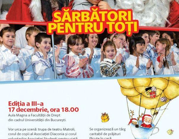 Spectacol de teatru, colinde și cadouri pentru copii de la Moș Crăciun, sâmbătă, la Facultatea de Drept. Intrarea este liberă