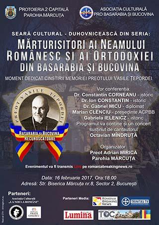 Live! Eveniment dedicat unui erou – Preot Vasile ȚEPORDEI, mărturisitor al identității și ortodoxiei românești în Basarabia
