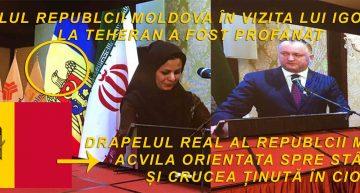 """Fără precedent! Bravul apărător al ortodoxiei, Igor Dodon a profanat drapelul propriului stat, de dragul islamului! La Teheran, Vulturul Moldav din stemă și-a întors privirea spre răsărit și i-a """"căzut"""" crucea din cioc"""