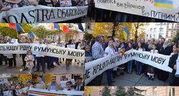 """Foto-Video: """"NU NE FURAȚI LIMBA NOASTRĂ CEA ROMÂNĂ! / НЕ КРАДIТЬ НАШУ РIДНУ РУМУНЬСКУ  МОВУ!"""" Potestul românilor în fața Administrației de Stat Ucrainene din Cernăuți"""