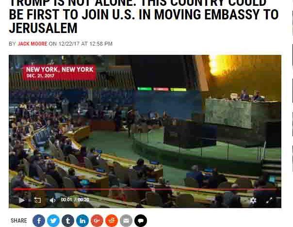 România prezentată de presa internațională ca fiind primul stat, după SUA, care îşi va muta ambasada din Israel la Ierusalim, urmând politica lui Trump