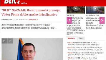 """Fostul premier al României Victor Ponta a primit cetățenia Republicii Serbia. """"Serbia cel mai bun vecin și prieten al României"""""""