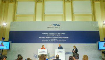 Conferință de presă a Înaltului Reprezentant al Uniunii Europene pentru afaceri externe și politica de securitate, Federica Mogherini, şi a ministrului afacerilor externe, Teodor Meleșcanu