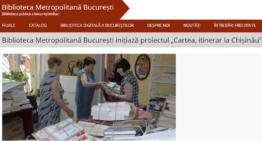 """Biblioteca Metropolitană București donează 3000 de cărți în Republica Moldova în cadrul inițiativei proiectul """"Cartea, itinerar la Chișinău"""""""