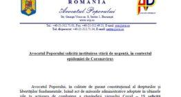Document: Avocatul Poporului solicită preşedintelui României să declare starea de urgenţă!