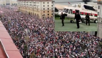 Video: Protest uriaș în Minsk față de dictatură și falsificarea alegerilor. Lukasenko surprins cu o mitraliera Kalashnikov la coborarea din elicopterul prezidential